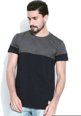 Hubberholme Solid Men's Round Neck Dark Blue, Grey T-Shirt