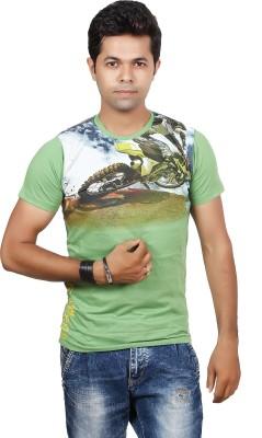 JG FORCEMAN Printed Men's Round Neck Green T-Shirt