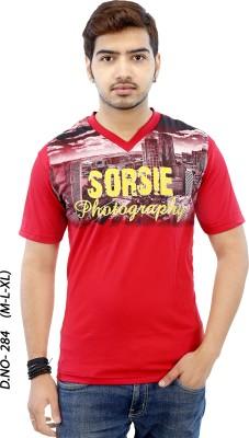 RGT Printed Men's V-neck Red T-Shirt