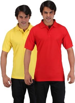 Aqua Solid Men's Polo Neck Red, Yellow T-Shirt