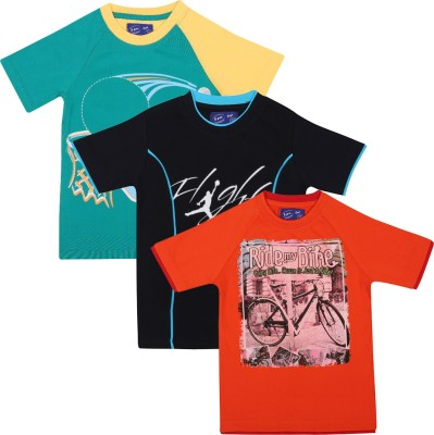 SPN Garments Printed Boy's Round Neck Orange, Green, Dark Blue T-Shirt