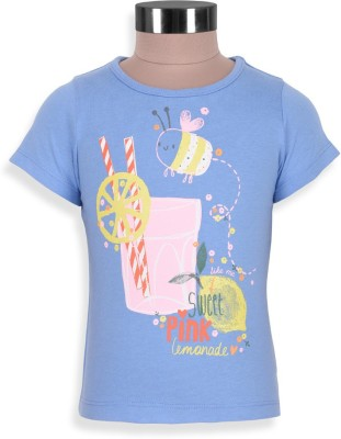 Mothercare Printed Baby Girl's Round Neck Blue T-Shirt