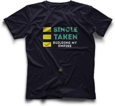 Thinkpop Printed Men's Round Neck Dark Blue, Yellow T-Shirt