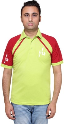 HIRA FASHION WEAR Solid Men's Polo Neck Light Green T-Shirt