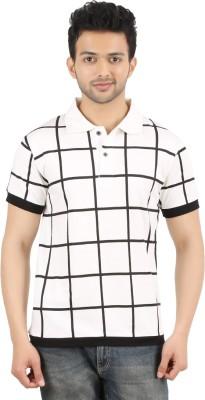 MA Checkered Men's Polo Neck Black, White T-Shirt