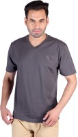 Humbert Solid Men's V-neck Grey T-Shirt