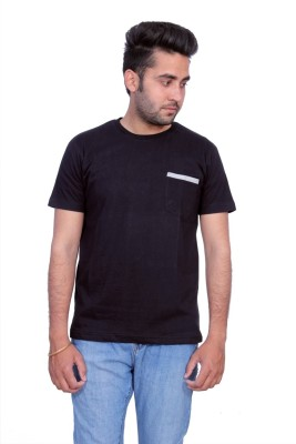 Martech Solid Men's Round Neck Black T-Shirt