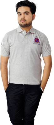 Parv Collections Solid Men's V-neck Grey T-Shirt