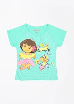 Dora Printed Girl's Round Neck Green T-Shirt