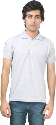 Stylish Trotters Solid Men's Polo Grey T-Shirt