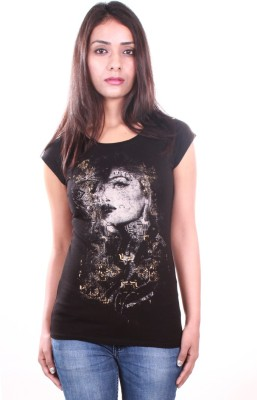 AR2 Printed Women's Round Neck Black T-Shirt
