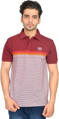 Urban Trail Embroidered Men's Polo Neck Maroon T-Shirt