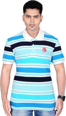 Poppini Striped Men's Polo Neck Light Blue T-Shirt