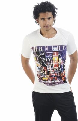 Adventure Printed Men's V-neck White T-Shirt