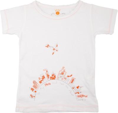 NeedyBee Printed Boy's Round Neck White T-Shirt
