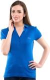 Virsa Solid Women's V-neck Blue T-Shirt