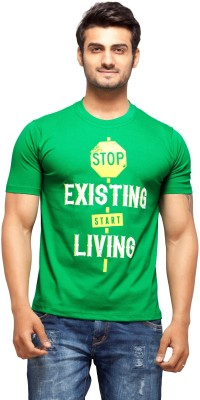 Nihaal Printed Men,s Round Neck Green T-Shirt