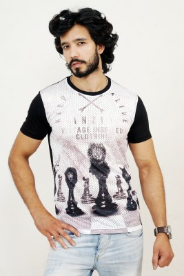 men in class Printed Men's Round Neck White, Black T-Shirt