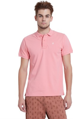 Breakbounce Solid Men's Polo Neck Pink T-Shirt