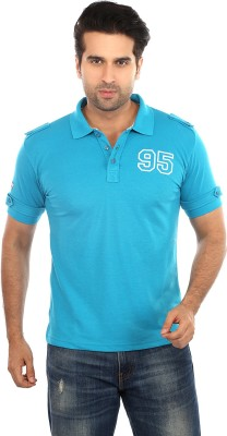Gotit Solid Men's Mandarin Collar Light Blue T-Shirt