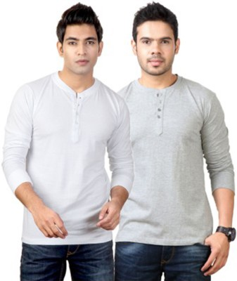 Simpletons Solid Men's Henley White, Grey T-Shirt