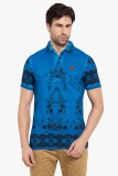 Copperstone Printed Men's Polo Neck Blue...