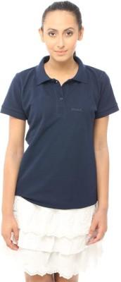Unicolr Solid Women's Polo Neck Dark Blue T-Shirt