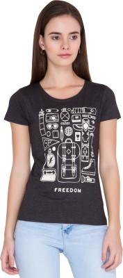 Alibi Printed Women's Round Neck Grey T-Shirt