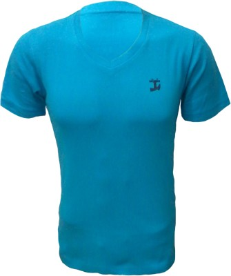 Tick Lish Solid Men's V-neck Light Blue T-Shirt