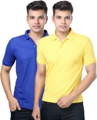 eSOUL Solid Men's Polo Neck Blue, Yellow T-Shirt