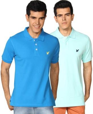 Provogue Solid Men's Polo Neck Green, Blue T-Shirt