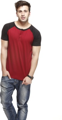 Gritstones Solid Men's Round Neck Red, Black T-Shirt