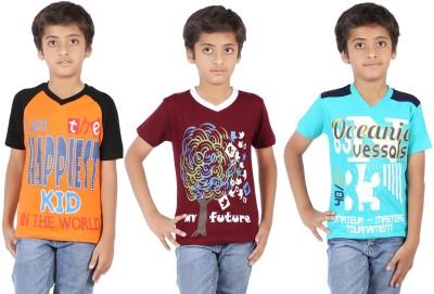 Maringo Classic Printed Boy's Round Neck Orange T-Shirt