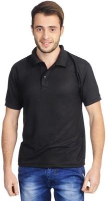 EagleBuzz Solid Men's Polo Black T-Shirt
