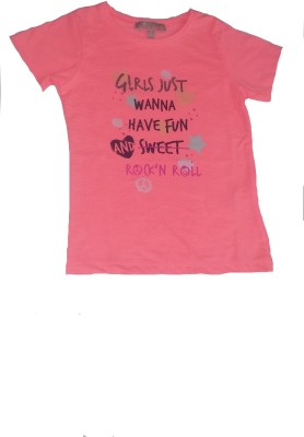 Bisbasta Graphic Print Baby Girl's Round Neck Pink T-Shirt