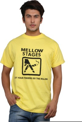 Chinese Printed Men's Round Neck Yellow T-Shirt