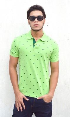 Deer Park Printed Men's Polo Neck Green T-Shirt