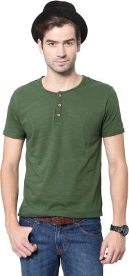 People Solid Men's Henley Dark Green T-Shirt