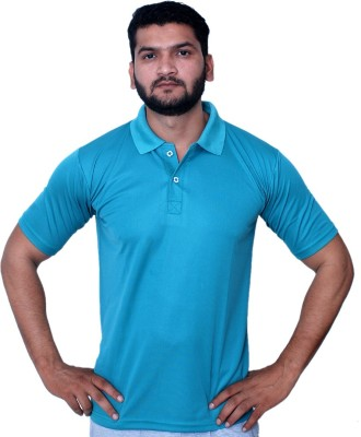 Fashion Tree Solid Men,s Polo Neck Blue T-Shirt