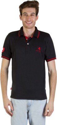 Goodluck Solid Men's Polo Neck Black, Red T-Shirt