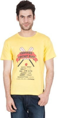 The Enthu Cutlet Graphic Print Men's Round Neck Yellow T-Shirt
