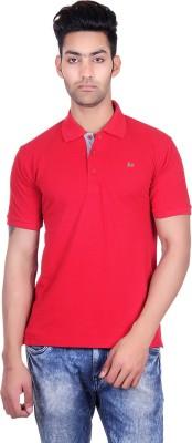 Deutz Solid Men's Polo Neck Red T-Shirt