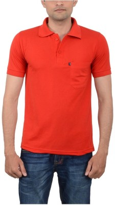 JAPROZ Solid Men,s Polo Neck Red T-Shirt