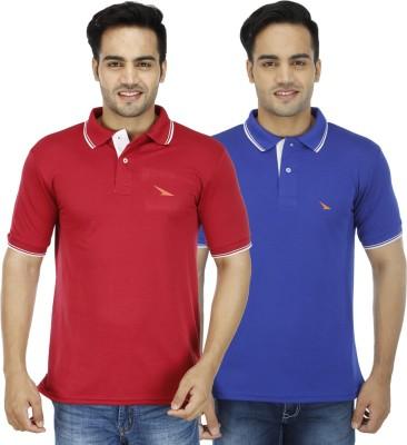 PRO Lapes Solid Men's Polo Neck Blue, Maroon T-Shirt