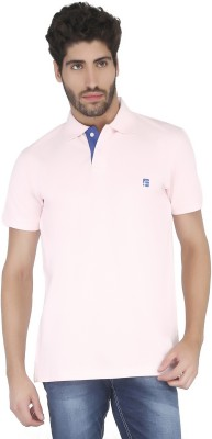 Floe Solid Men's Polo Neck Pink T-Shirt
