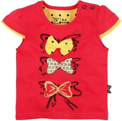Mom & Me Printed Baby Girl's Round Neck Red T-Shirt