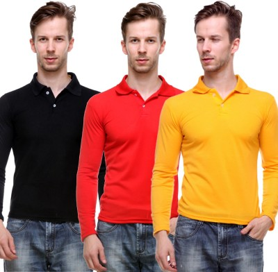 Grand Bear Solid Men's Polo Neck Reversible Yellow, Red, Black T-Shirt
