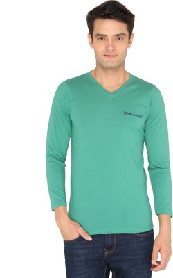 Chromozome Solid Men's V-neck Green T-Shirt
