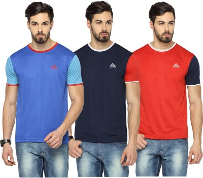 Canyons Solid Men's Round Neck Blue, Dark Blue, Red T-Shirt