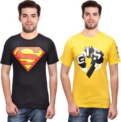 Rangifer Printed Men's Round Neck Black T-Shirt